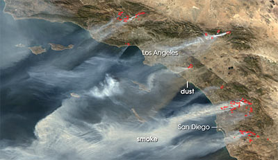 Satellite photo of Southern California fires