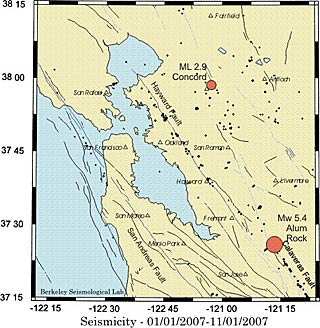 bay area earthquake map from alum rock quake