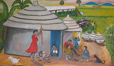 mural of Ugandan village