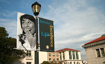 Photo banner on light pole
