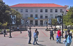 Banners in front of Dwinelle Hall