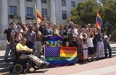 Gay marriage supporters on Sproul steps
