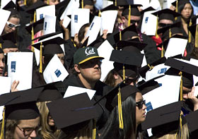 Graduate with A's-style Cal cap