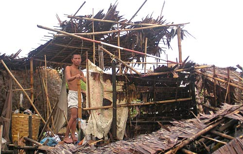destroyed home in Burma