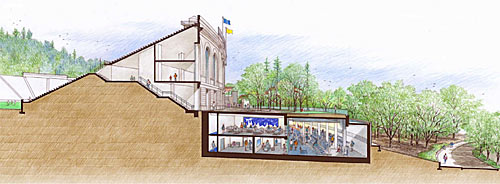 Cutaway drawing of training center