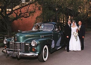 Briggs with newleyweds and classic car