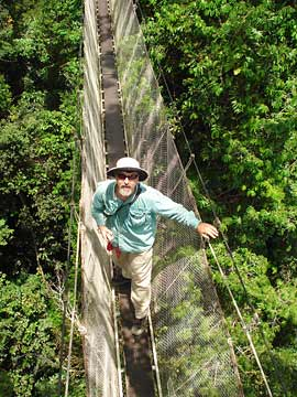 report author Michael Kaspari on rope bridge