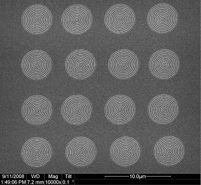scanning electron image of a 4-by-4 array of plasmonic lenses