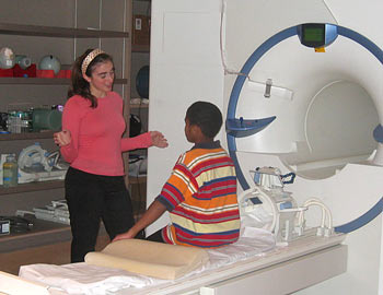Child prepares to undergo an MRI scan