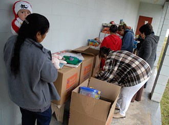 Tonyville residents sort through donations
