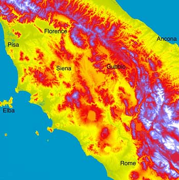 relief map of central italy