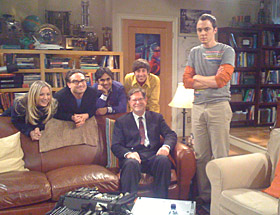 "George Smooth with pals on the ""Big Bang"" set"