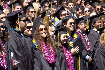 Smiling graduates at the Greek