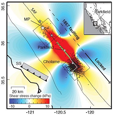 Map of shear stress changes in Parkfield quake zone