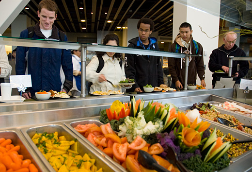 Students at organic salad bar