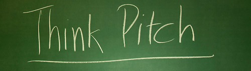 "Blackboard writing: ""Think Pitch"""