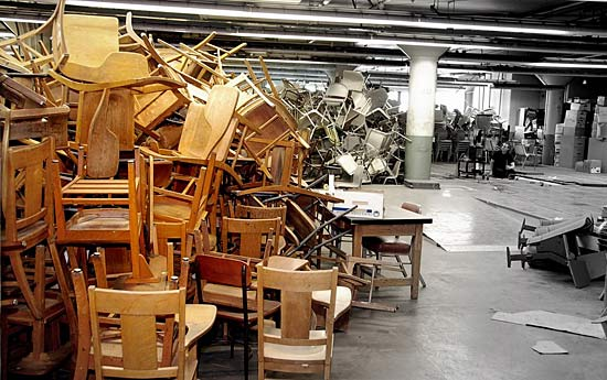Chairs piled in Marchant Building