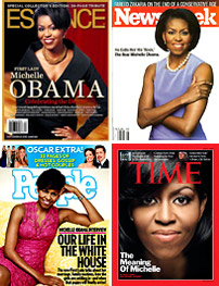 Magazine covers of First Lady Michelle Obama.