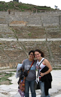 Natalie Nguyen, left, and a friend at Ephesus, an ancient Greek site in Anatolia.