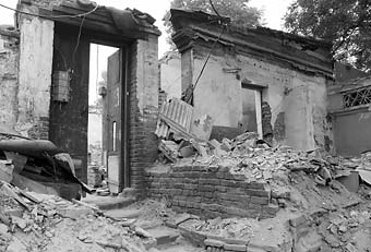Demolished homes in a Beijing hutong