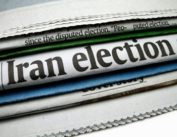 "newspaper headline: ""Iran election"""