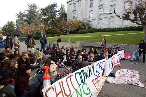 Protesters outside Wheeler Hall
