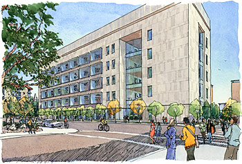 Artist's rendering of new building.
