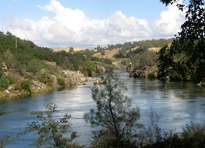 The American River in Folsom, Calif