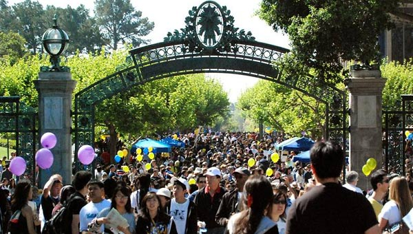 People walking through Sather Gate