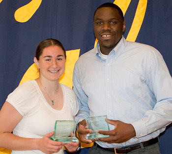 Lauren Greif and Theo Robertson won awards for the student athletes with the highest GPAs.