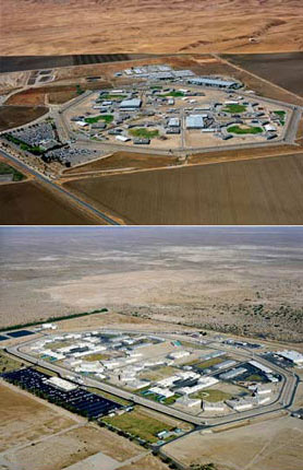 aerial photos of 2 California state prisons