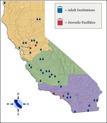 map of California prisons