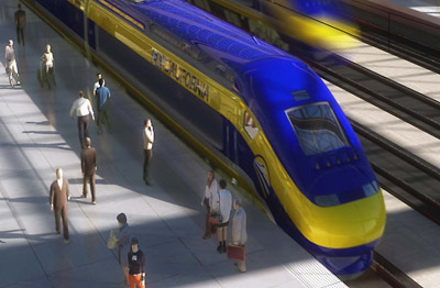 high-speed rail train at platform (artist's rendering)