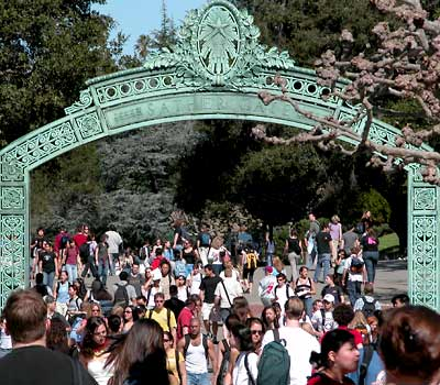 Students walking through Sather Gate