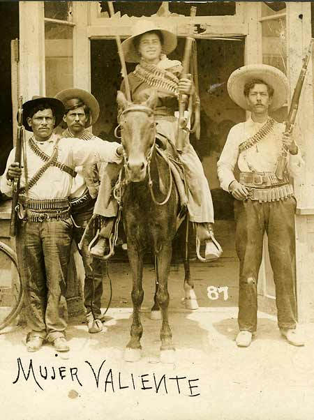 woman on horseback during Mexican Revolution