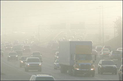 highway with smog