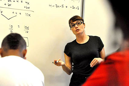 Marlo Warburton teaches math to middle schoolers