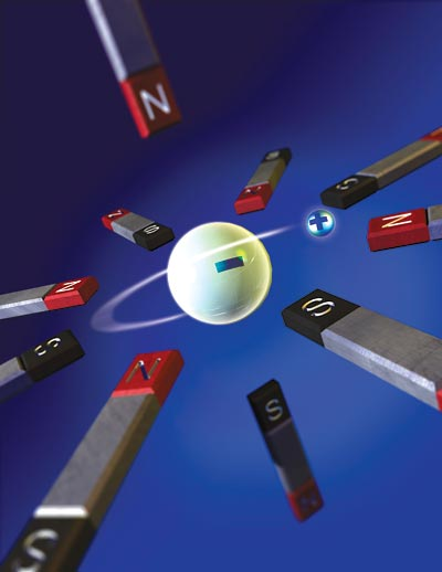 Artist's rendition of magnets trapping antihydrogen atom