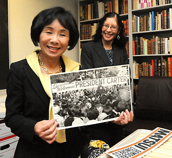 Congresswoman Matsui with photo of Jimmy Carter rally