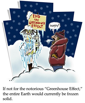 Cartoon about the greenhouse effect