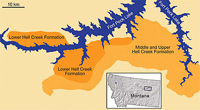 Map of the Hell Creek Formtion in eastern Montana.