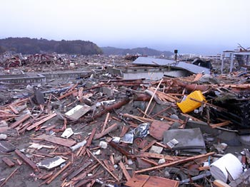 Debris in city of Rikuzentakata