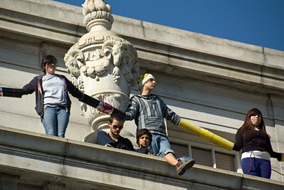 Protesters on Wheeler Hall ledge
