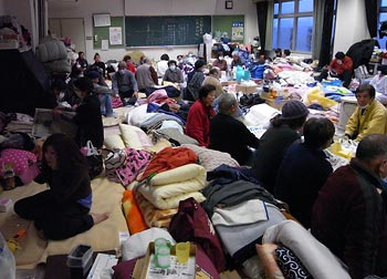 Residents of an evacuation shelter