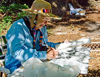 Artist Meg Stockwell paints a buckeye tree