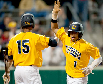 Cal baseball players at the Super Regional