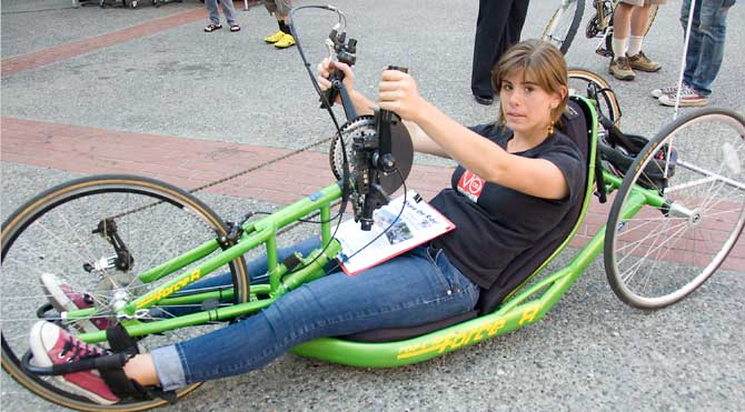 Hand-cycle for riders with disabilities