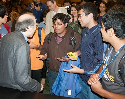Perlmutter with students