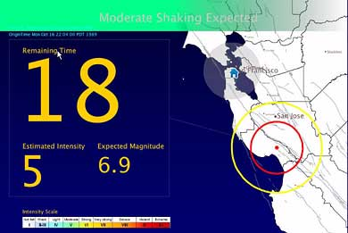 Earthquake early warning message