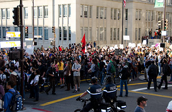 Occupy marchers in downtown Berkeley